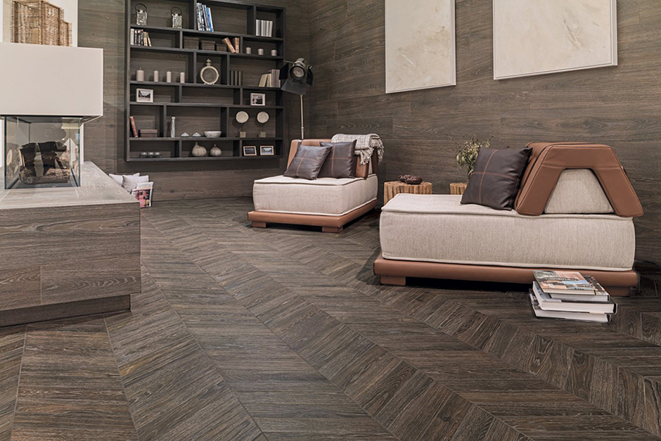 Floor Tile: Eden Minnesota Moka ; Wall Tile: Minnesota Moka