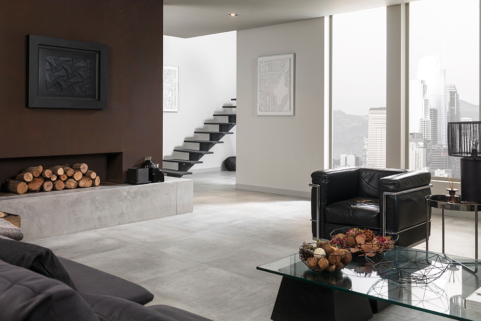 Fireplaces porcelanosa for Carrelage 80x80 gris