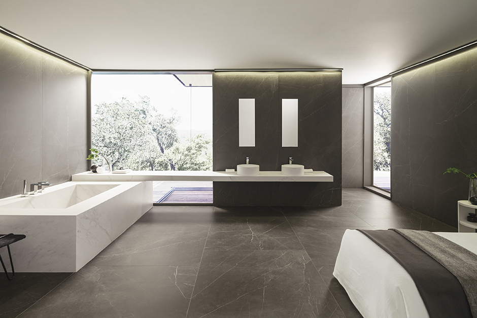 Merveilleux Wall And Floor Tile: Savage Dark Nature ; Bathtub And Countertop: Lush  White Nature ; Stone Sinks: Round ; Faucets: NK One