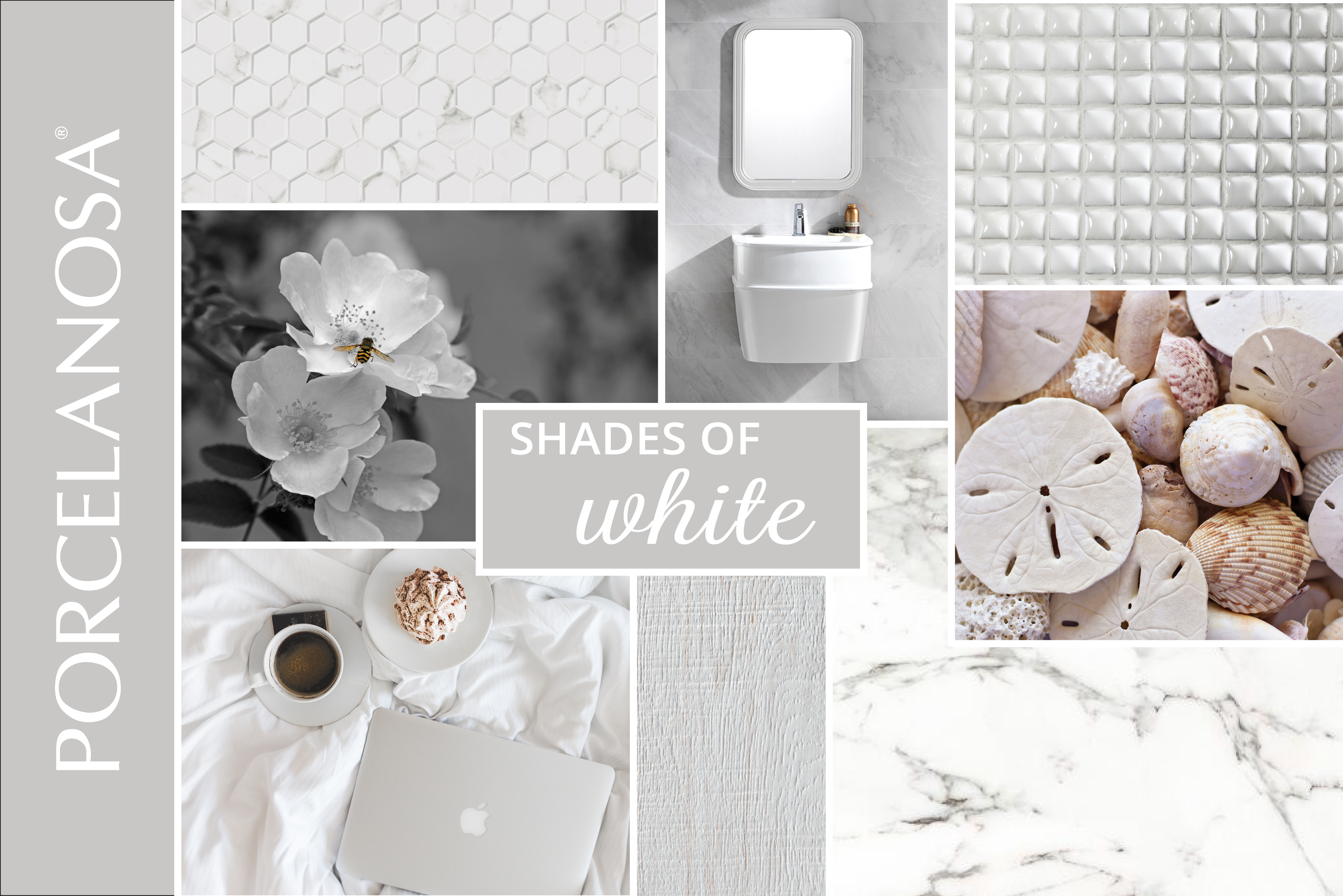Shades Of White Moodboard White Tiles Designs By Porcelanosa