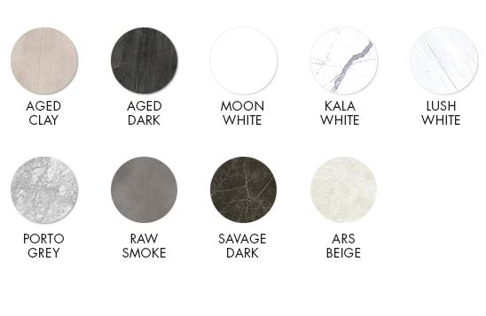 Aged Dark, Moon White, Kala White, Lush White, Porto Grey, Raw Smoke, Savage Dark, Ars Beige